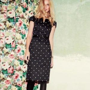 BODEN polka dot cap sleeve belted sheath dress 12